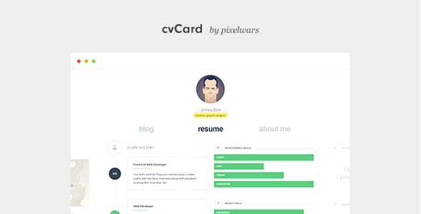 cvCard WP - Responsive vCard WordPress Theme by pixelwars | ThemeForest