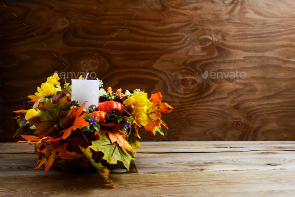 Thanksgiving Decoration With Silk Leaves On Rustic Background