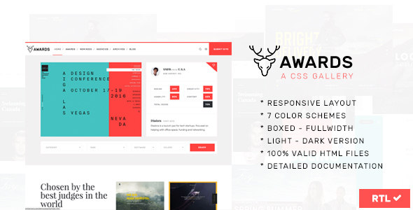 Awards | CSS Gallery Nominees Website Showcase Responsive Template ...