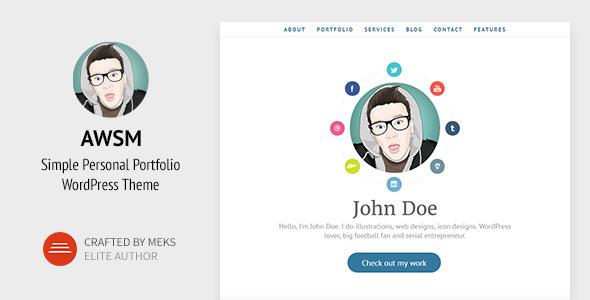AWSM - Simple Personal Portfolio WordPress Theme by meks | ThemeForest
