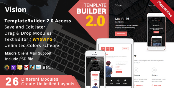 Vision Responsive Email Mailbuild Online By Akedodee Themeforest