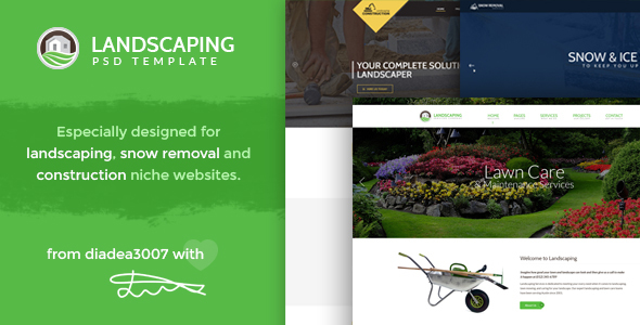 Landscaping - Landscape, Snow Removal & Construction PSD Template by ...
