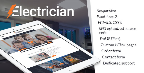 Electrician, electricity services HTML website template by themetony