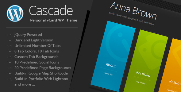 Cascade - Personal vCard WordPress Theme by QuanticaLabs | ThemeForest