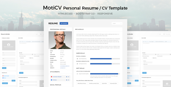 MotiCV Resume CV HTML5 Template by DirectoryThemes ThemeForest