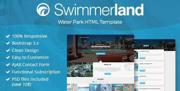Swimmerland water park html template by gnodesign themeforest swimmerland water park html template entertainment site templates maxwellsz
