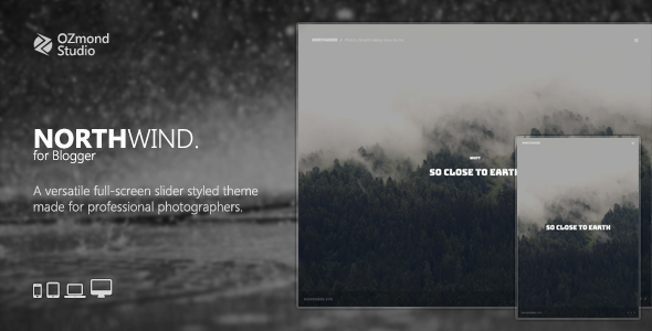 NorthWind A Versatile FullScreen Slider Theme For Photographers By - Blogger photography templates professional