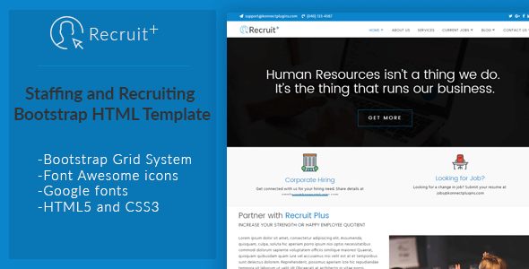 Recruit Plus Staffing and Recruiting HTML Template by konnectCode ...