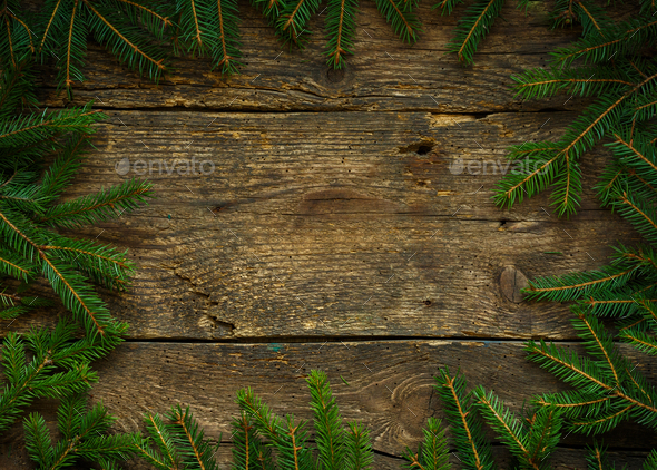 christmas tree branches on wooden texture ready for your design stock photo by vlad_star - Christmas Tree Branches