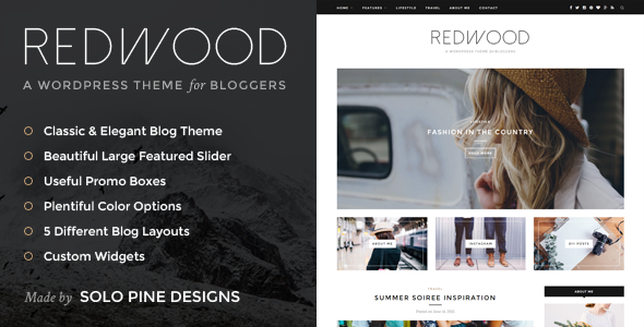 Redwood - A Responsive WordPress Blog Theme by SoloPine | ThemeForest
