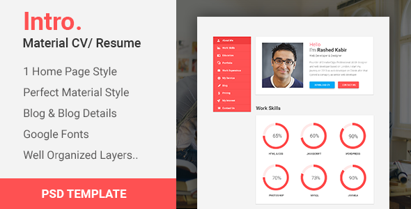 Intro Material CV PortfolioResume PSD Template by CreativeGigs