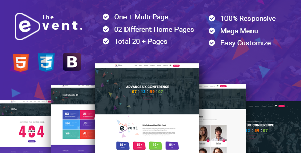 theevent event conference html5 template by radiustheme