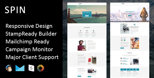 SPIN Multipurpose Responsive Email Template Stampready Builder - Responsive email template bootstrap