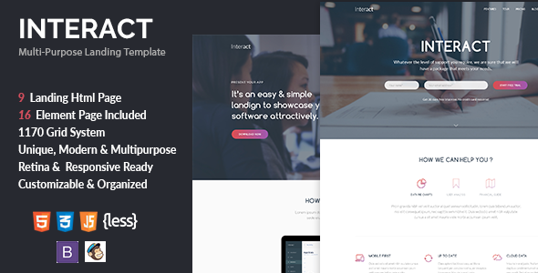 Interact multipurpose landing page template by zytheme themeforest interact multipurpose landing page template creative landing pages maxwellsz