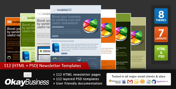 Okay Business Multi Usage Newsletter By Gifky ThemeForest - Multi page newsletter templates
