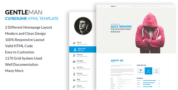 Gentleman  Responsive CV / Resume HTML Template By LabArtisan | ThemeForest  Resume Html Template