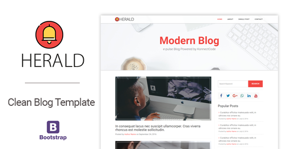 Herald Modern and Clean Blog HTML Template by konnectCode