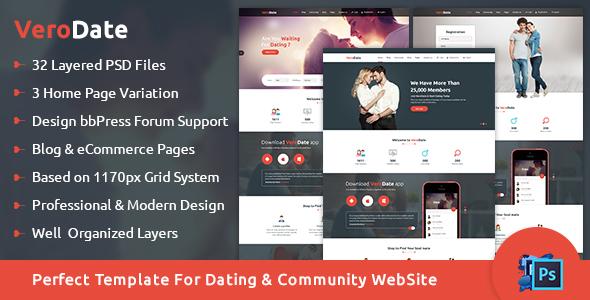 verodate dating social network website psd template by verodate