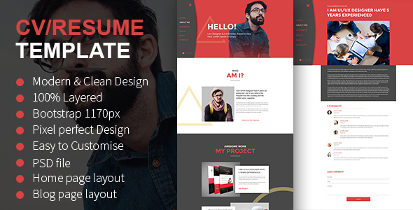 cv resume psd template by themexone themeforest