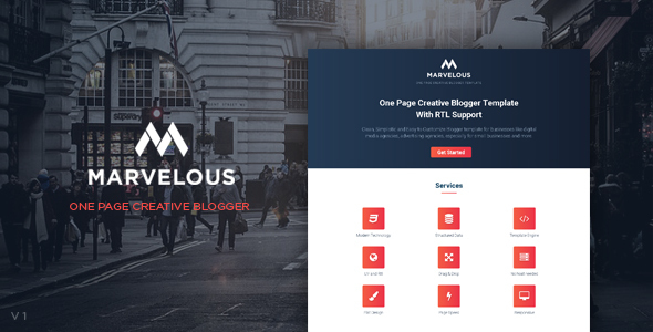 Marvelous one page creative blogger template with rtl support by marvelous one page creative blogger template with rtl support blogger blogging flashek Image collections