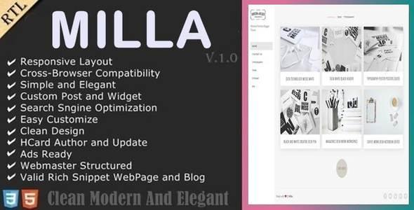 milla minimal portfolio blogger template by anarchyta themeforest