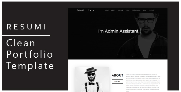 Resumi  Responsive Resume  Personal Portfolio Template By Blackgallery