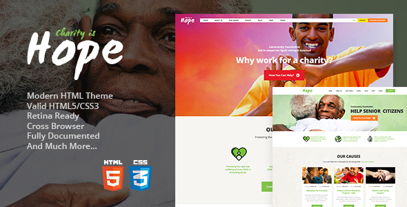 hope non profit charity donations site template by themerex