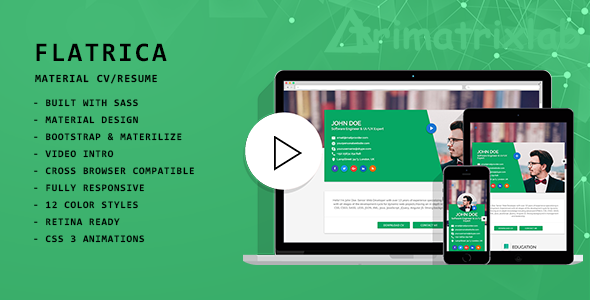 Flatrica Material CVResume by trimatrixlab ThemeForest