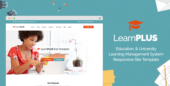 LearnPLUS | Education LMS Responsive Site Template by Template-World