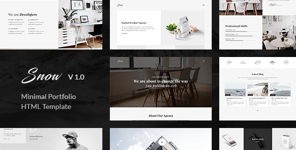 snow minimal clean html portfolio template by unvab themeforest