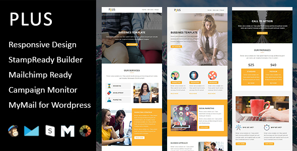 Plus Multipurpose Responsive Email Template With Stampready - Custom mailchimp templates free