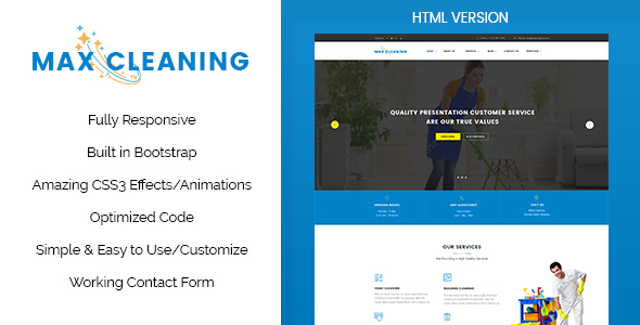 Max clean cleaning business html template by themewisdom themeforest max clean cleaning business html template business corporate maxwellsz