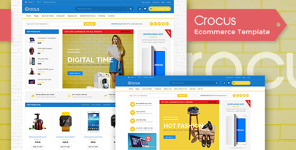 Crocus Electronics Store Fashion Store Organic Store HTML - Real estate wholesale website templates