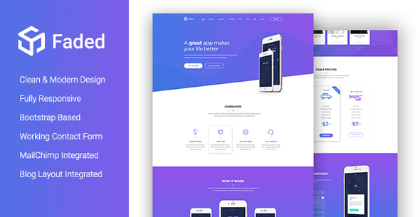 faded creative app landing page template with blog rtl