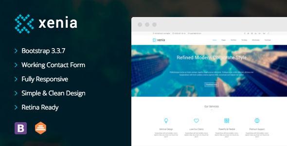 Xenia - Refined HTML 5 / CSS 3 Corporate Template by DankovThemes ...