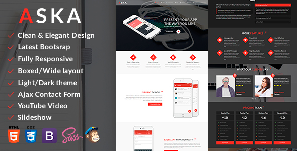 aska bootstrap mobile app html template technology landing pages