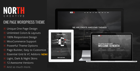 North - One Page Parallax WordPress Theme by Veented | ThemeForest