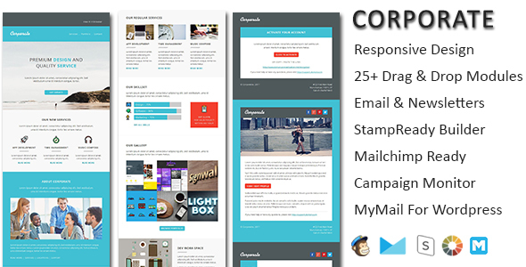 corporate responsive email newsletter templates with online