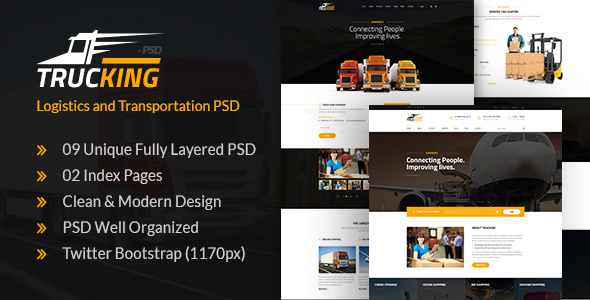 trucking logistics and transportation psd template by webstrot