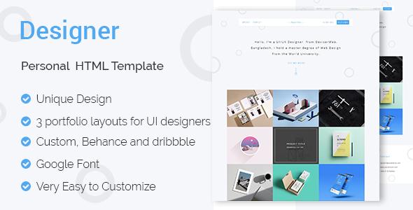 designer ui ux designers portfolio html template by themeatelier