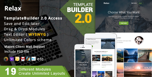 Relax - Responsive Email + MailBuild Online by akedodee | ThemeForest
