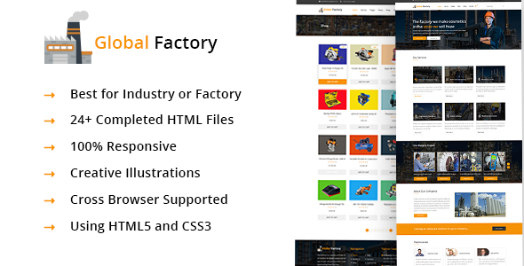 Global Factory- Minimal factory & industry HTML5 Template by crazycafe