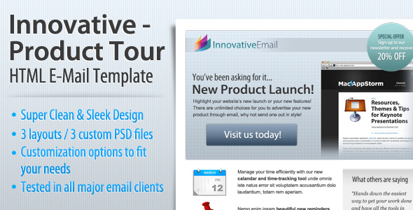 innovative - product tour html email templateindex2 | themeforest, Email Presentation Template, Presentation templates