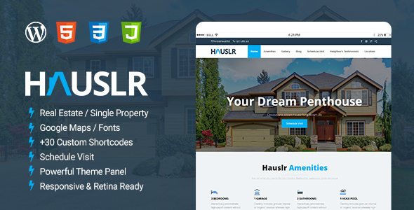 Hauslr - Single Property WordPress Theme by ThemeSLR   ThemeForest