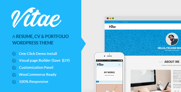 vitae resume cv portfolio personal wordpress theme with shop