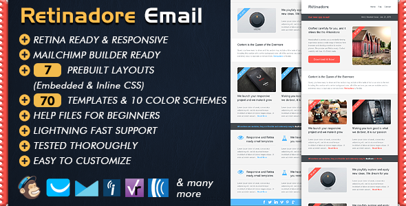 Retinadore Responsive Email Newsletter Template By Bedros - Two column responsive email template