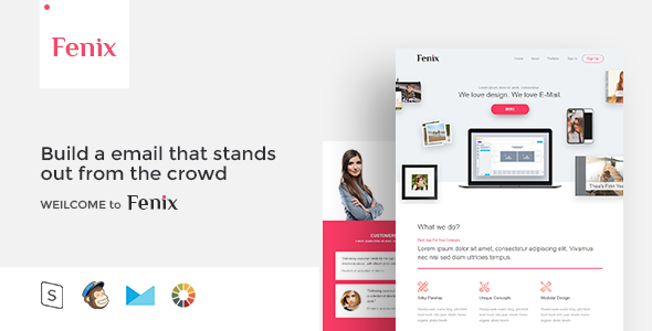 Fenix Responsive Email Template Minimal By Zay ThemeForest - Build responsive email template
