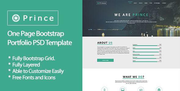 prince one page bootstrap portfolio psd template by alamin89