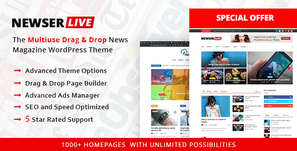 Newser   The Multiuse Drag And Drop News/Magazine WordPress Theme   News /  Editorial