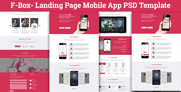 F-Box Landing Page Mobile App PSD Template by codetroopers | ThemeForest